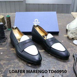 [Outlet Size 46] Giày lười nam đen trắng Marengo TD60950 001