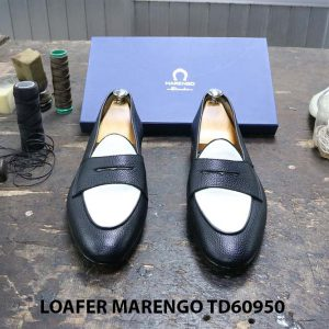 [Outlet Size 46] Giày lười nam đen trắng Marengo TD60950 002