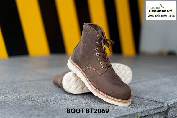 Giày Boot buộc dây nam da lộn đế bằng cao cấp BT2069 002