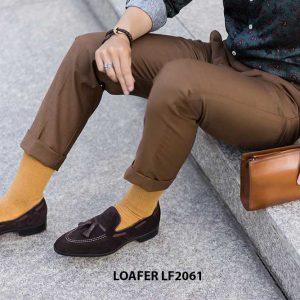 Giày lười nam có chuông da lộn Tassel Loafer LF2061 003
