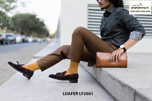 Giày lười nam có chuông da lộn Tassel Loafer LF2061 002