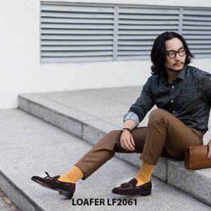 Giày lười nam có chuông da lộn Tassel Loafer LF2061 001