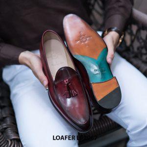 Giày lười nam chuông màu đỏ đô Tassel Loafer LF2067 002