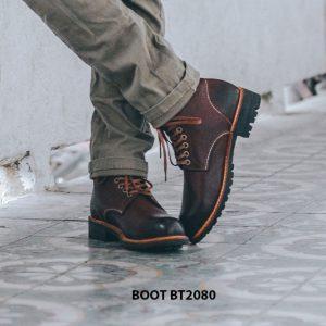 Giày nam Boot cột dây thời trang cao cấp BT2080 004