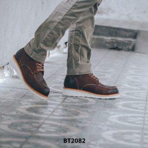 Giày da Boot cổ cao cột dây đế bằng BT2082 003