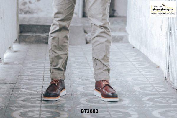 Giày da Boot cổ cao cột dây đế bằng BT2082 001