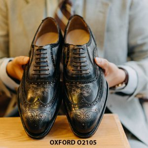 Giày da nam Wingtips chữ W phong cách Oxford O2105 001