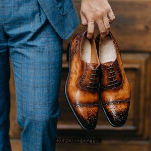 Giày da nam da bò hảo hạng Oxford O2108 002