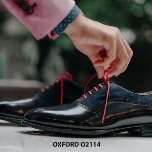 Giày da nam cao cấp phối da nhung Oxford O2114 004
