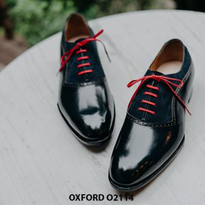 Giày da nam cao cấp phối da nhung Oxford O2114 001