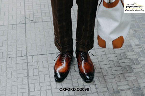 Giày tây nam da trơn đánh màu Patina Oxford O2098 001