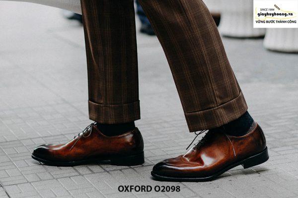 Giày tây nam da trơn đánh màu Patina Oxford O2098 004