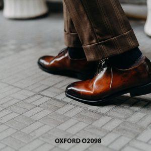 Giày tây nam da trơn đánh màu Patina Oxford O2098 003