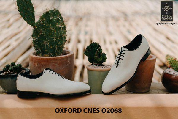 Giày da nam màu trắng cao cấp Oxford CNES O2068 006