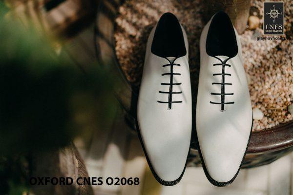 Giày da nam màu trắng cao cấp Oxford CNES O2068 001