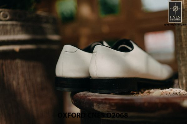 Giày da nam màu trắng cao cấp Oxford CNES O2068 004