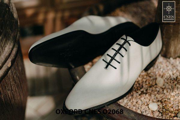 Giày da nam màu trắng cao cấp Oxford CNES O2068 003