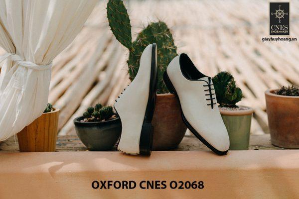 Giày da nam màu trắng cao cấp Oxford CNES O2068 002