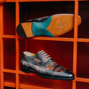 Giày tây nam đánh Patina 7 sắc màu Oxford O2069 003