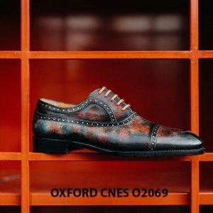 Giày tây nam đánh Patina 7 sắc màu Oxford O2069 001