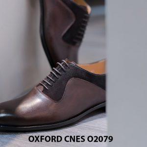 Giày da nam cao cấp phối nhung Oxford O2078 004