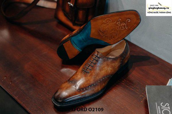 Giày da nam da trơn đánh Patina cao cấp Oxford O2119 004