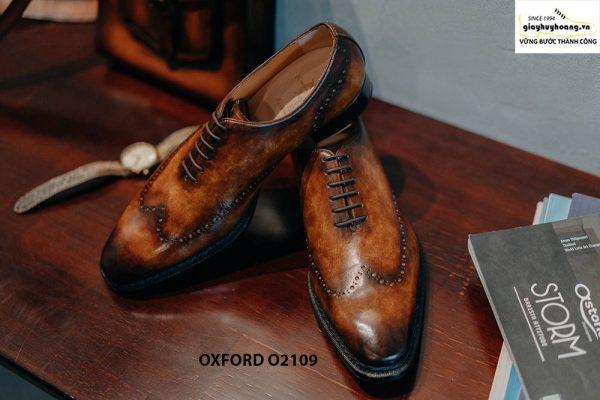 Giày da nam da trơn đánh Patina cao cấp Oxford O2119 003