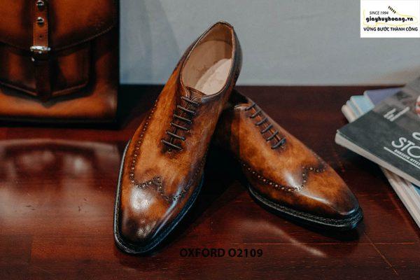 Giày da nam da trơn đánh Patina cao cấp Oxford O2119 001
