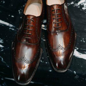 Giày tây nam da mịn bóng loáng đẹp Oxford O2094 0014