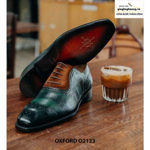 Giày tây nam da bê dập vân cá sấu Oxford O2123 004
