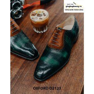 Giày tây nam da bê dập vân cá sấu Oxford O2123 003