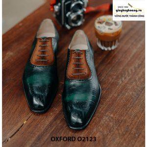 Giày tây nam da bê dập vân cá sấu Oxford O2123 001