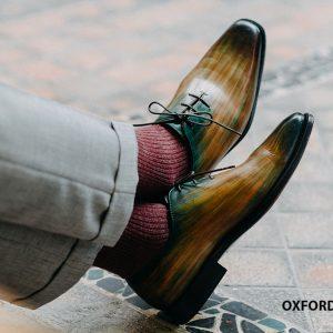 Giày da nam 7 màu đánh Patina Oxford O2106 001