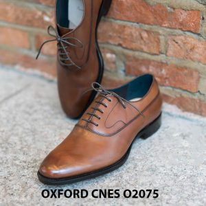 Giày da nam mũi trơn bóng Oxford O2075 002