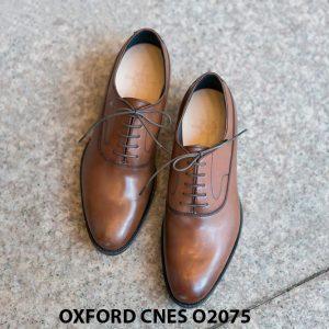 Giày da nam mũi trơn bóng Oxford O2075 001