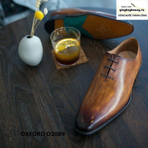 Giày buộc dây nam đánh patina cọ quét Oxford O2089 0056