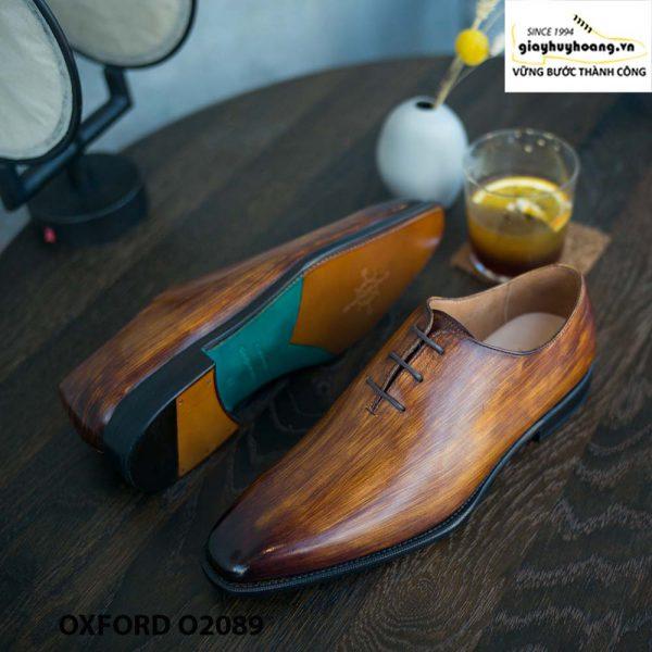 Giày buộc dây nam đánh patina cọ quét Oxford O2089 003