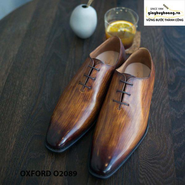 Giày buộc dây nam đánh patina cọ quét Oxford O2089 002