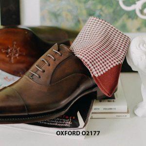 Giày tây nam thiết kế may chỉ trong Oxford O2177 004