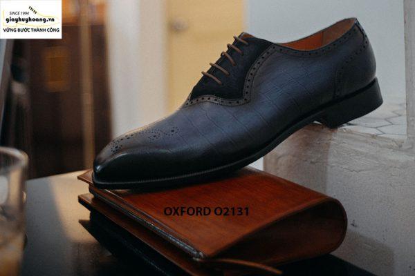Giày tây nam vân cá sấu phối da nhung Oxford O2131 004