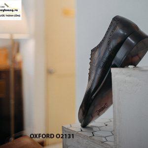 Giày tây nam vân cá sấu phối da nhung Oxford O2131 003