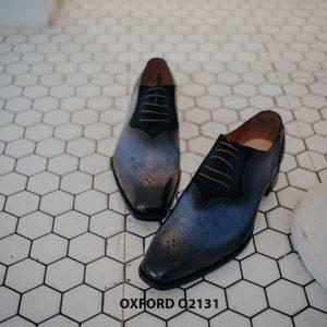 Giày tây nam vân cá sấu phối da nhung Oxford O2131 001