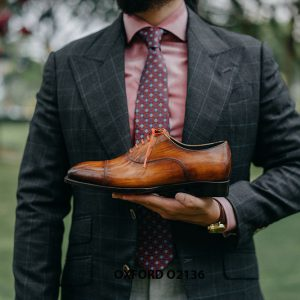 Giày tây nam được đánh màu thủ công Oxford O2136 007