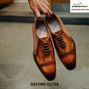 Giày tây nam da đan xen kết hợp da bê Oxford O2139 001