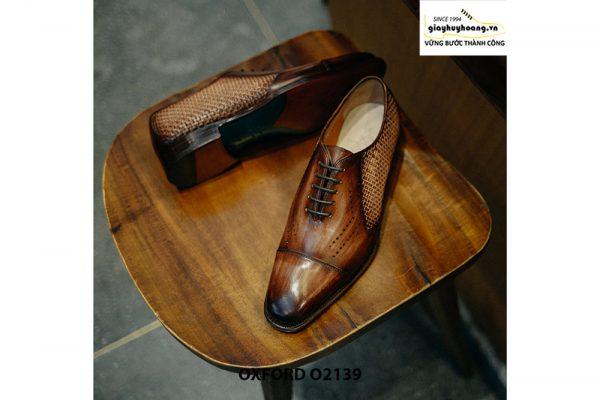 Giày tây nam da đan xen kết hợp da bê Oxford O2139 004