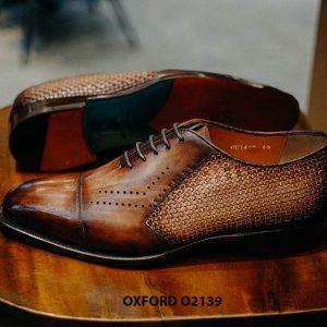 Giày tây nam da đan xen kết hợp da bê Oxford O2139 003