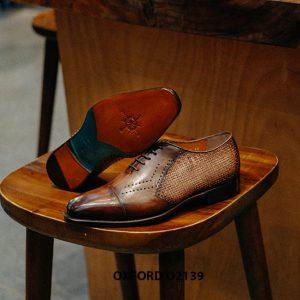 Giày tây nam da đan xen kết hợp da bê Oxford O2139 002